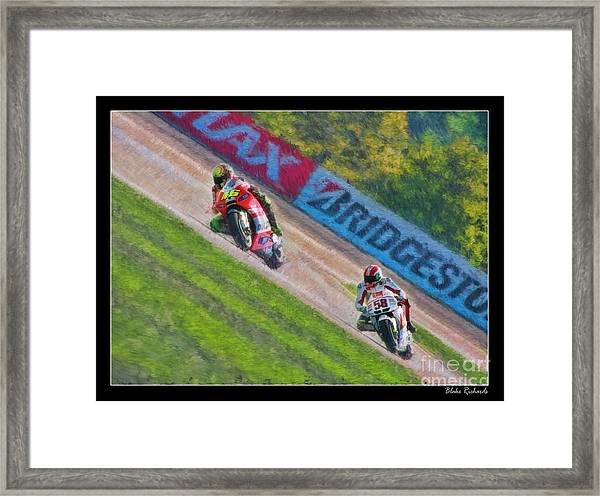 Valentino Rossi Leads Marco Simoncelli Framed Print