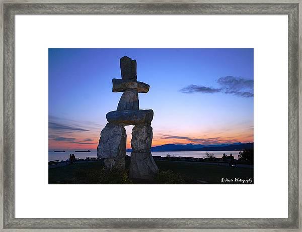 Vancouver Bc Inukshuk Sculpture Framed Print