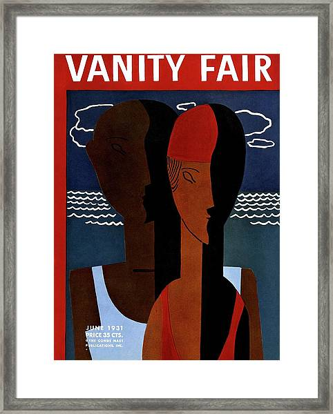 Vanity Fair Cover Featuring A Man And Woman Framed Print