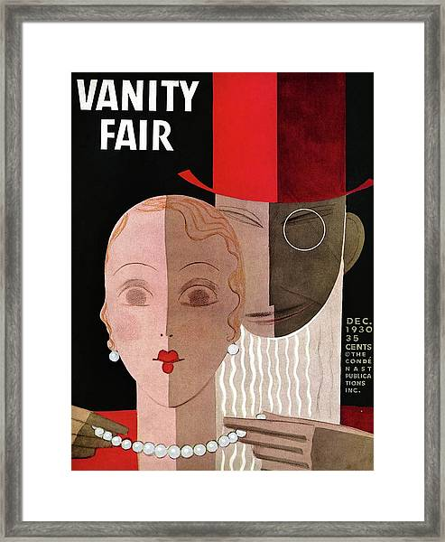 Vanity Fair Cover Featuring A Man Fastening Framed Print
