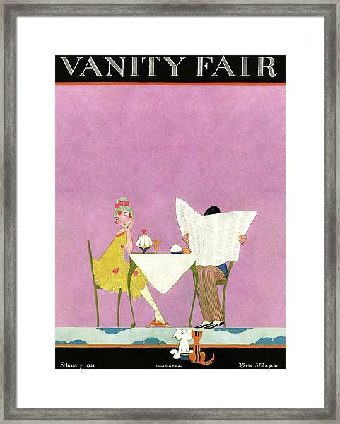 Vanity Fair Cover Featuring A Man Reading Framed Print