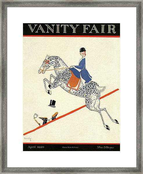 Vanity Fair Cover Featuring A Woman On A Horse Framed Print