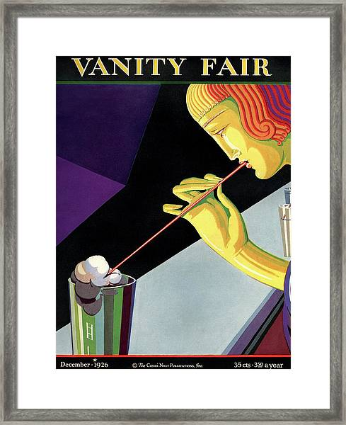 Vanity Fair Cover Featuring  A Young Man Drinking Framed Print