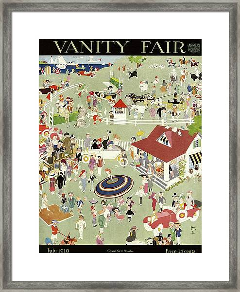Vanity Fair Cover Featuring Activities Of Country Framed Print by John Held Jr