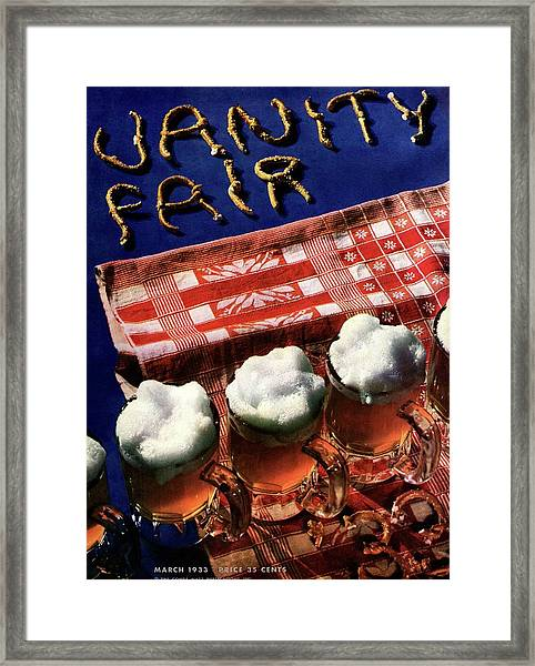 Vanity Fair Cover Featuring Glasses Of Beer Framed Print by Anton Bruehl