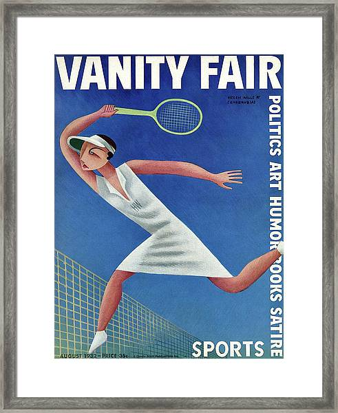 Vanity Fair Cover Featuring Helen Wills Playing Framed Print