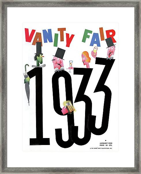 Vanity Fair Cover Featuring People Celebrating Framed Print