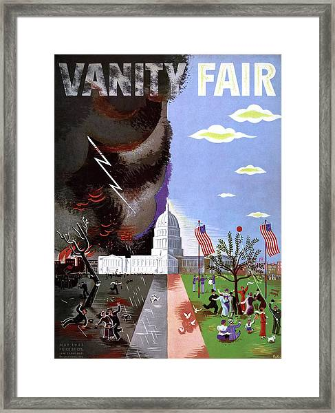 Vanity Fair Cover Featuring The Capitol Building Framed Print