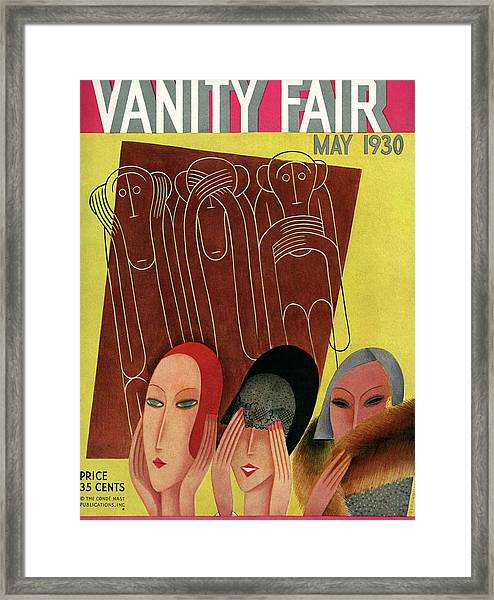 Vanity Fair Cover Featuring Three Monkeys Framed Print