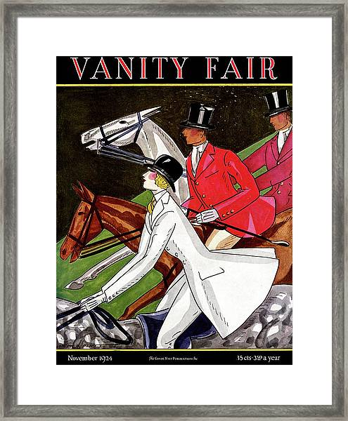 Vanity Fair Cover Featuring Two Men And A Woman Framed Print