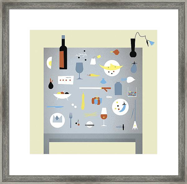 Variety Of Food And Drink Arranged On Framed Print