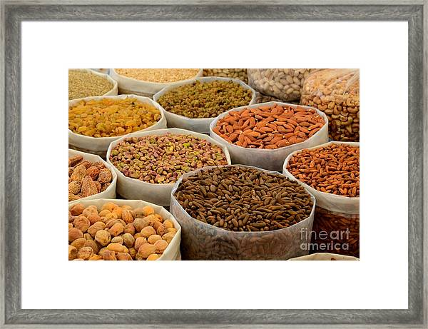 Variety Of Raw Nuts For Sale At Outdoor Street Market Karachi Pakistan Framed Print