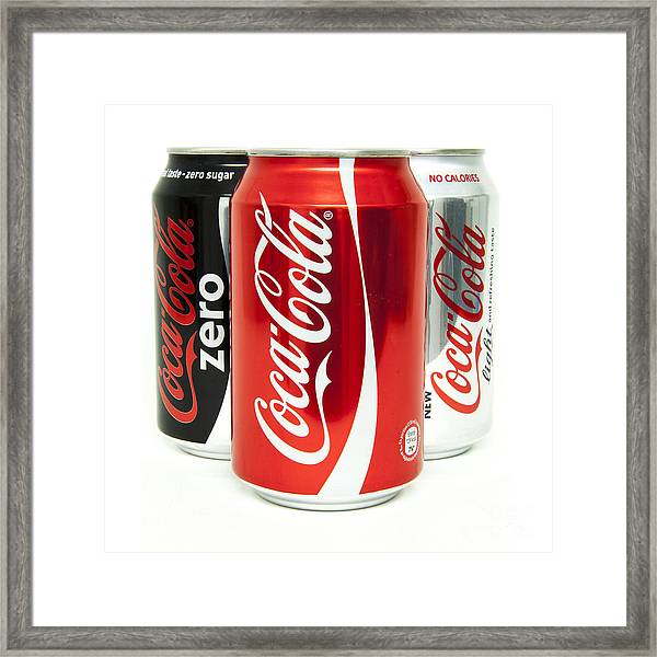 Various Coke Cola Cans Framed Print