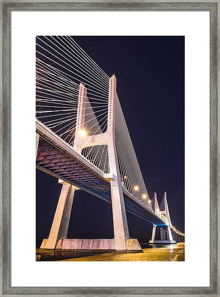 Vasco Da Gama Bridge At Night Framed Print