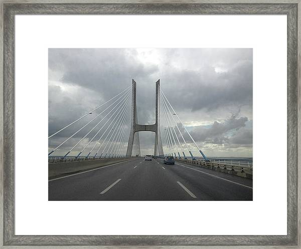 Vasco Da Gama Bridge In Lisboa Framed Print