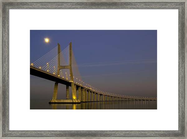 Vasco Da Gama Bridge In The Moonlight Framed Print