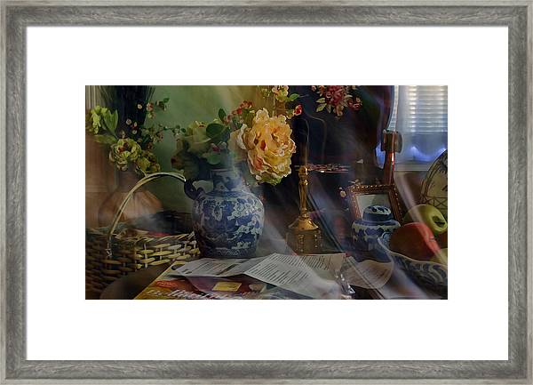 Blue Vase And Flowers  Framed Print