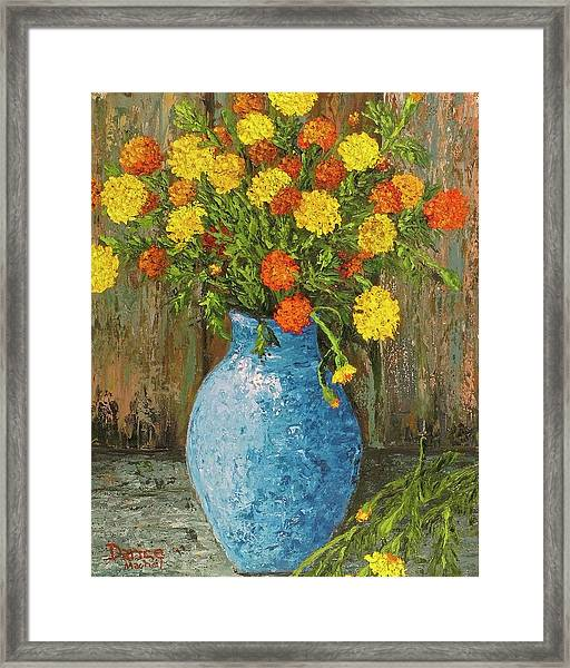 Vase Of Marigolds Framed Print