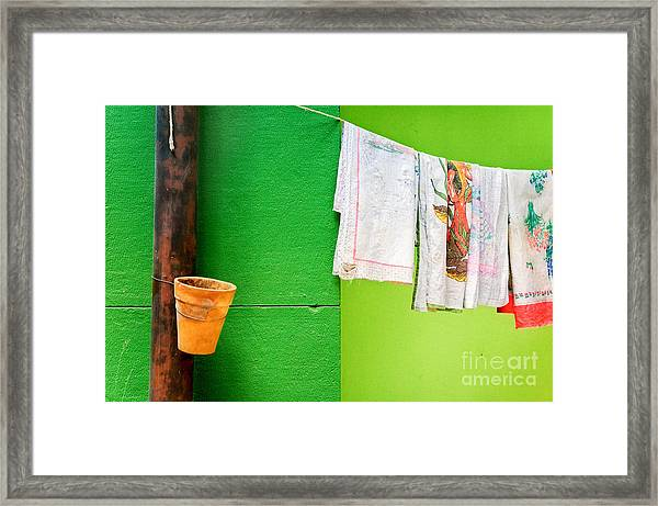 Vase Towels And Green Wall Framed Print