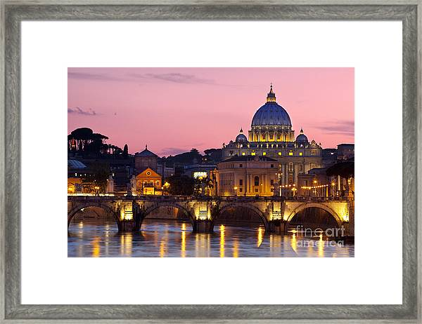 Framed Print featuring the photograph Vatican Twilight by Brian Jannsen