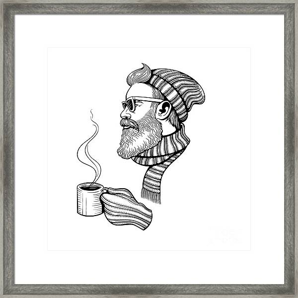 Vector Black And White Bearded Man With Framed Print