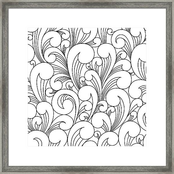 Vector Black And White Pattern With Framed Print by Maria galybina