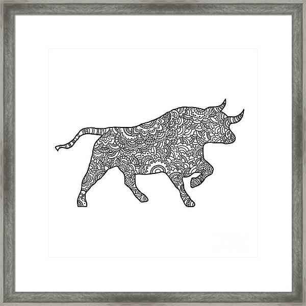 Vector Boho Bull For  Coloring Book For Framed Print