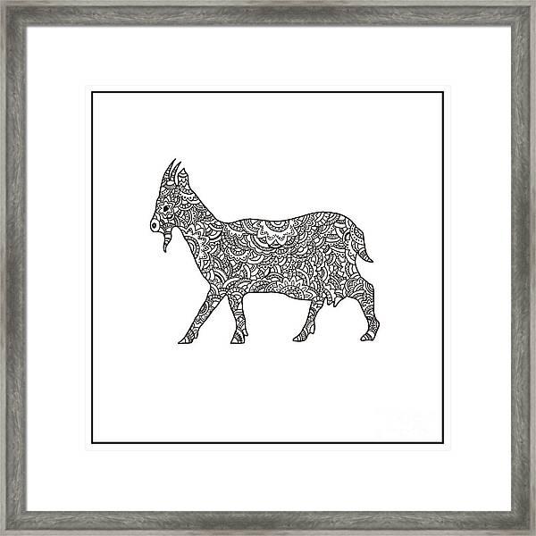 Vector Boho Goat For Coloring Book For Framed Print