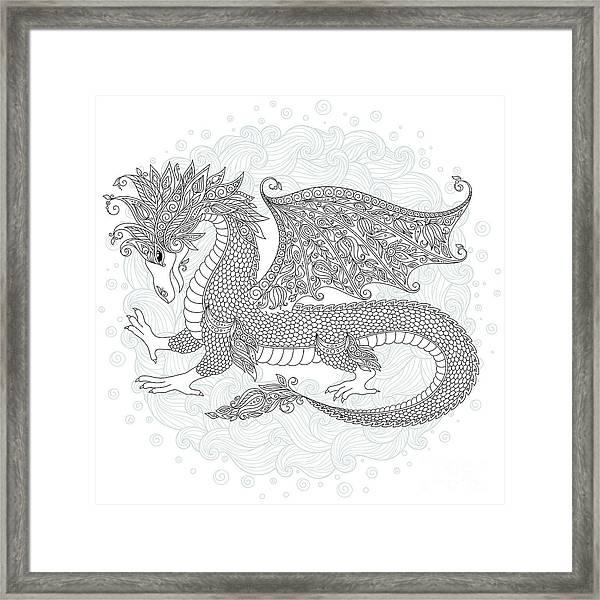 Vector Cartoon Dragon. Hand Drawn Framed Print by Photo-nuke