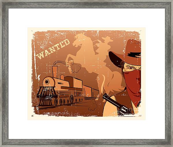 Vector Cowboy And Train. Western Grunge Framed Print