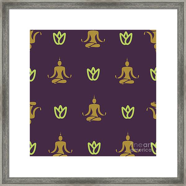 Vector Design Yoga Pose Pattern Framed Print