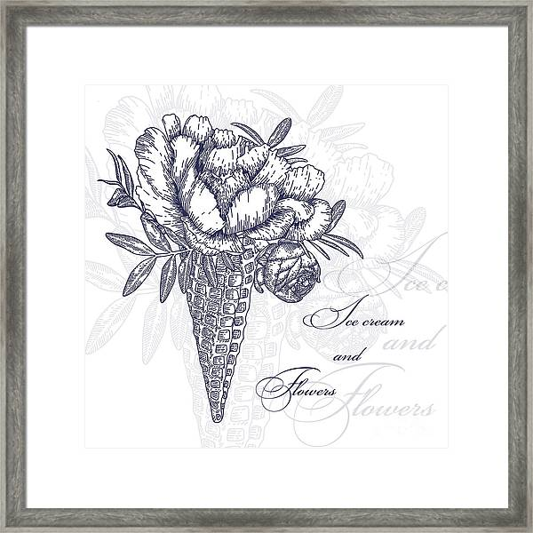 Vector Flowers In Waffle Cone. Bouquet Framed Print