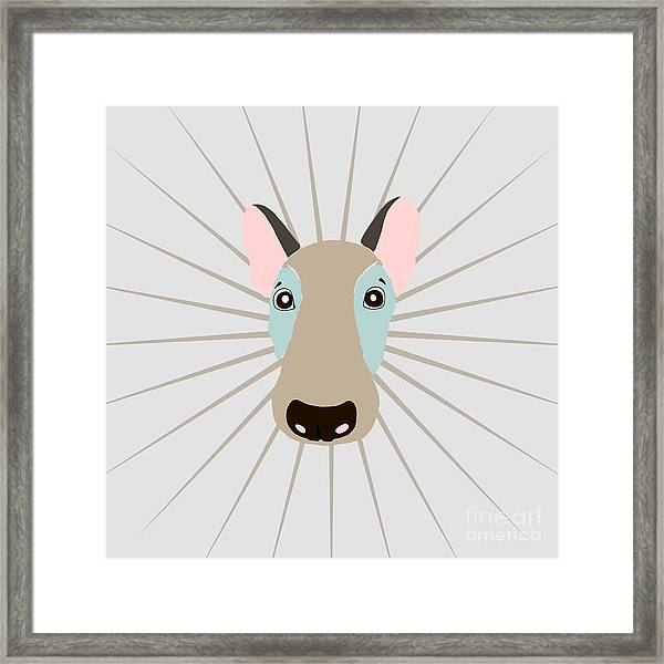 Vector Funny Head Of Dog On Vintage Framed Print