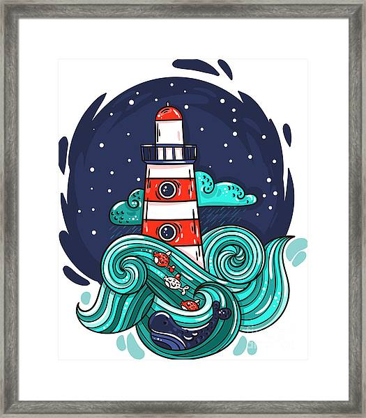 Vector Illustration Lighthouse In Storm Framed Print