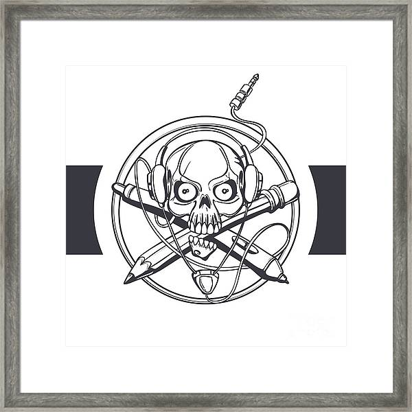 Vector Illustration Of A Black Skull Framed Print by Frostyara