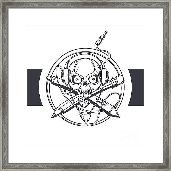 Vector Illustration Of A Black Skull Framed Print