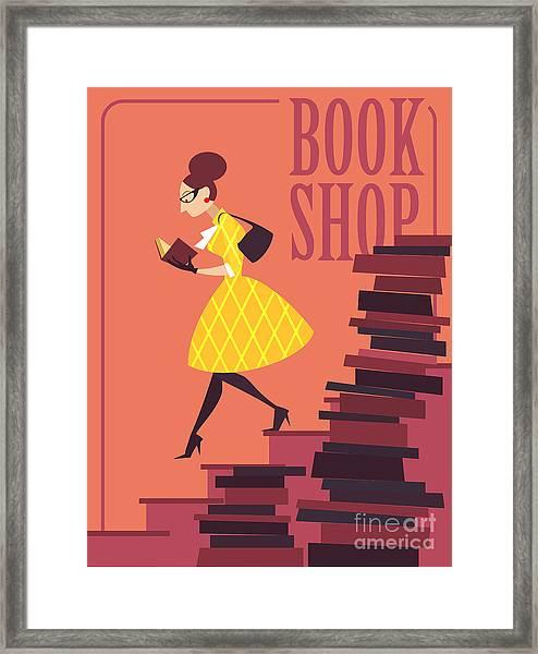 Vector Illustration Of Bookstore, Books Framed Print by Porcelain White