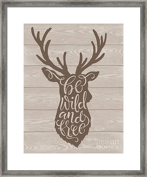 Vector Illustration Of Deer Silhouette Framed Print