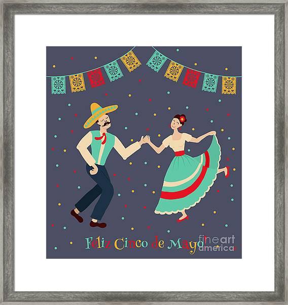 Vector Illustration Of Happy Dancing Framed Print