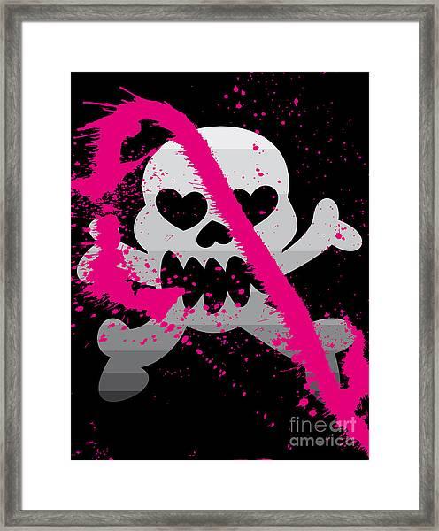 Vector Illustration Of Skull Framed Print by Arinabodorina