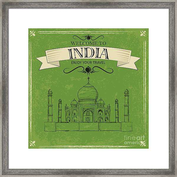 Vector Illustration Of Taj Mahal Of Framed Print