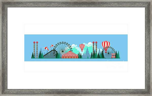 Vector Illustration Poster Amusement Framed Print