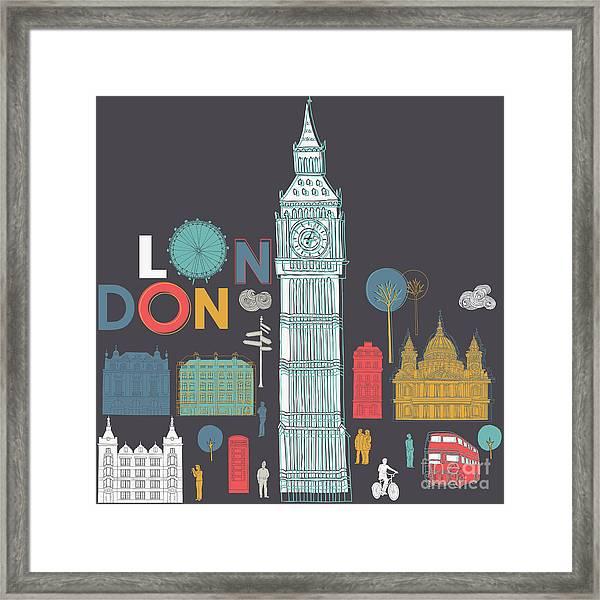 Vector London Symbols Framed Print
