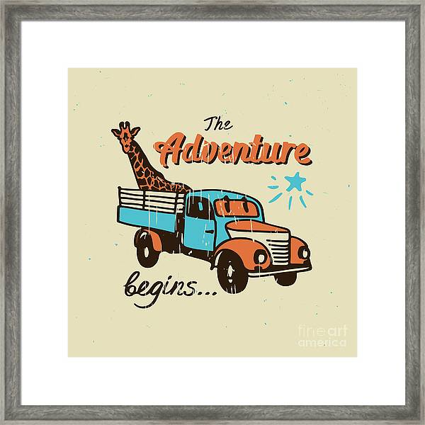 Vector Poster The Adventure Begins Framed Print