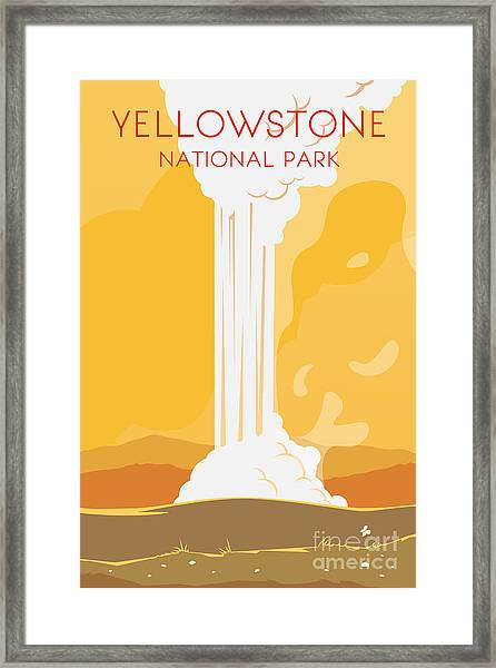 Vector Retro Poster. Yellowstone Framed Print