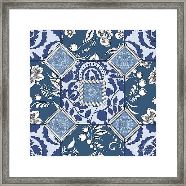 Vector Seamless Patchwork Pattern Framed Print