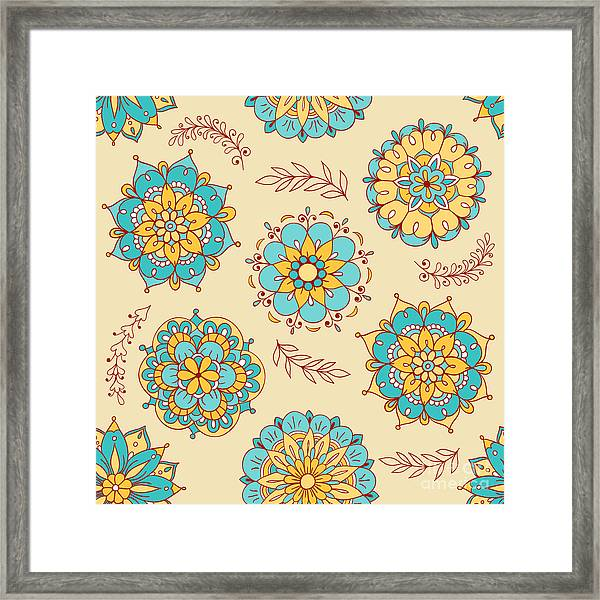 Vector Seamless Pattern, Doodling Framed Print
