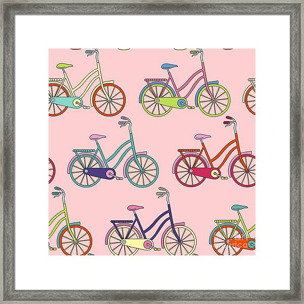 Vector Seamless Pattern With Bicycle Framed Print by Maria galybina