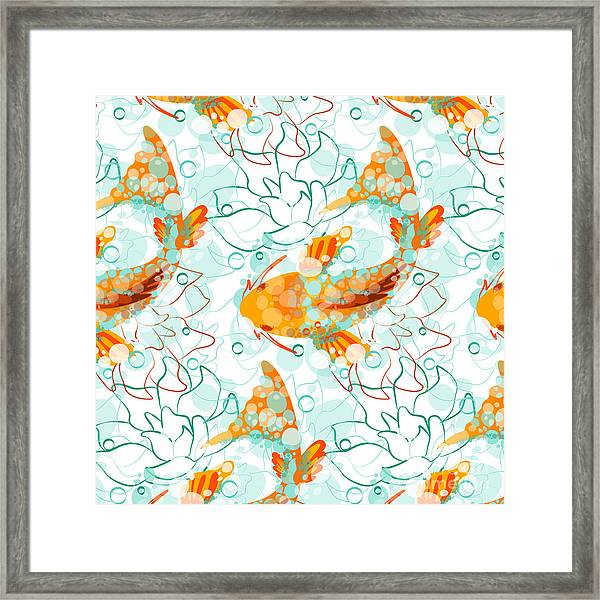 Vector Seamless Pattern With Koi Fish Framed Print