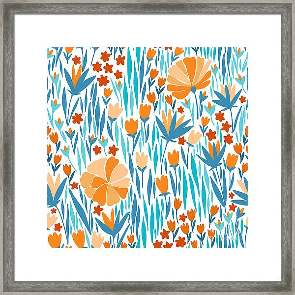 Vector Seamless Pattern With Summer Framed Print